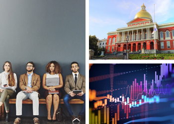 Image of people at a job interview, the Massachusetts State House, and data.