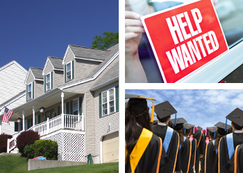 A house, a help wanted sign, and a crowd of college graduates in caps and gowns.