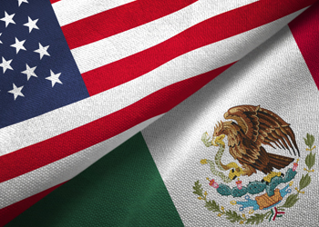 American and Mexican Flags.