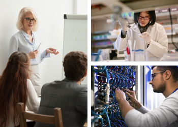 An older female professional, a scientist, and a computer tech.