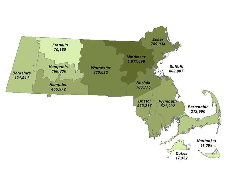 Estimated Population by Massachusetts County, July 1, 2018