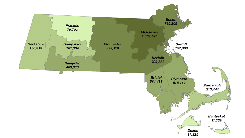 Estimated Population by Massachusetts County, July 1, 2017