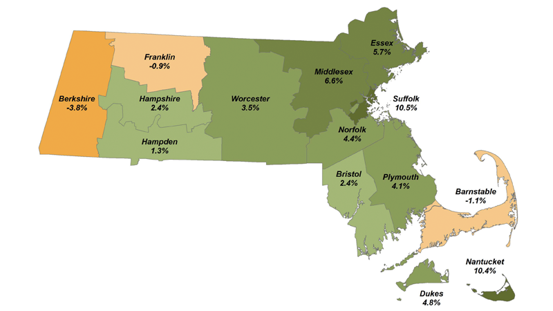Massachusetts 2017 County Population Estimates: Cumulative Change, Census 2010 to July 1, 2017