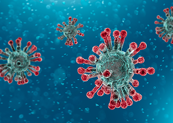 Close up of the COVID-19 virus.